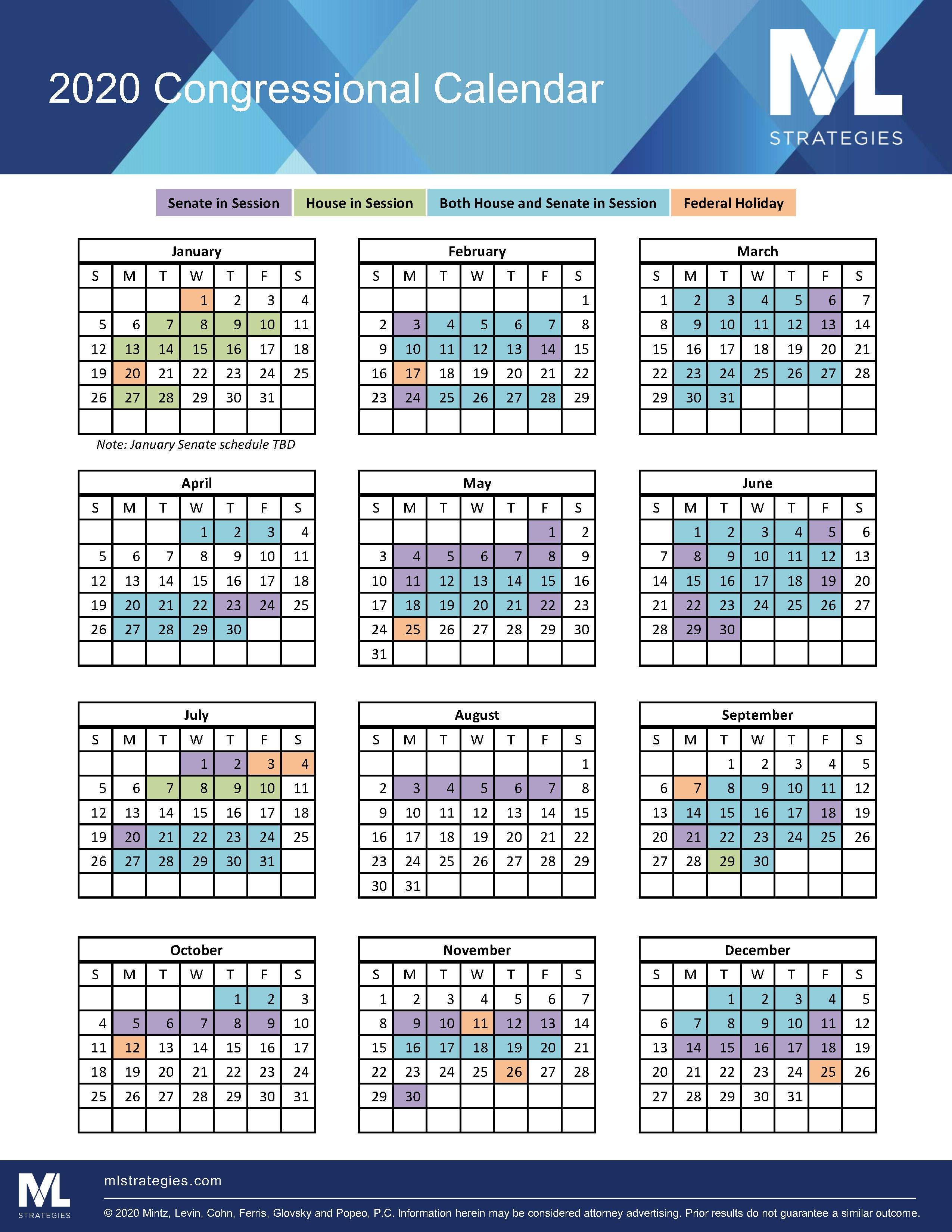 Congressional Calendar 2021 2020 Congressional Highlights | Mintz
